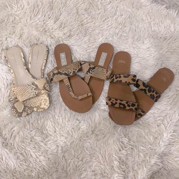 Zara Animal Print Slide Sandals Slippers Bundle